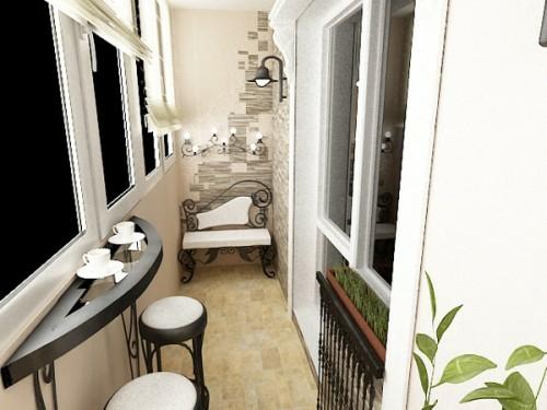 balkon gestalten stilvolle bank stehstühle tisch wand