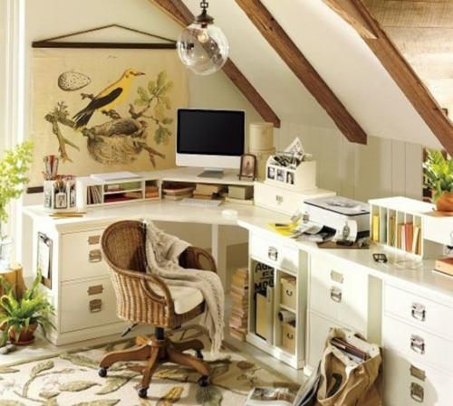 mädchenhaft büro haus elegant dachgeschoss rattan rollen lehnstuhl