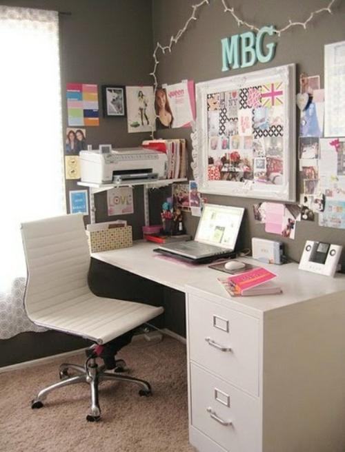mädchenhaft büro haus modern ausstattung weiße farben