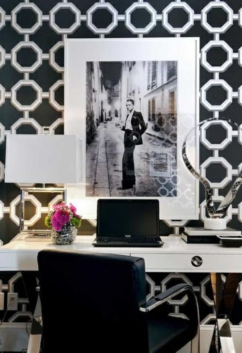 mädchenhaft büro haus schwarz weiß art auffallend leder stuhl