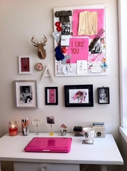 mädchenhaft büro haus wand dekoration bilder rahmen rosa