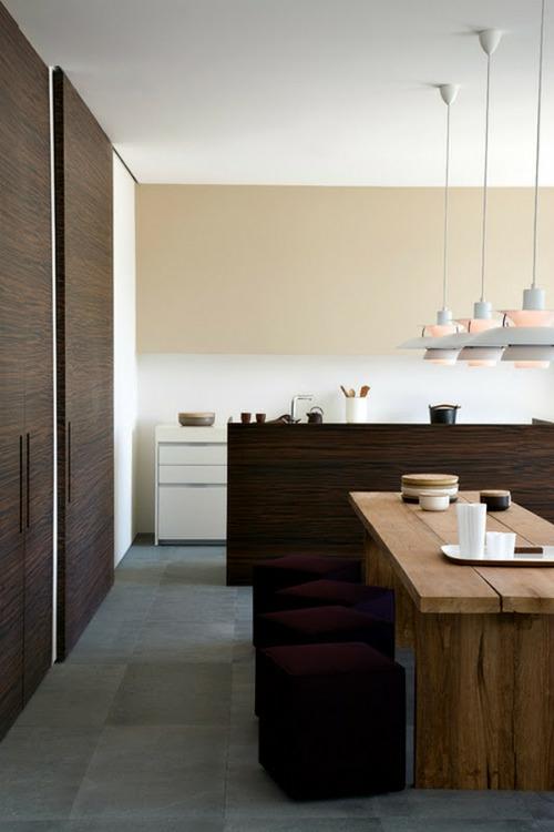 minimalistisch küche esszimmer holz belag schrank eingebaut