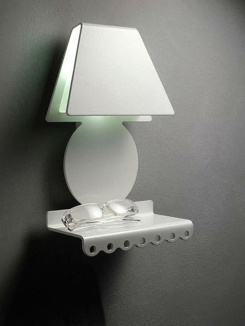 modern weiß nachttisch lampe wand