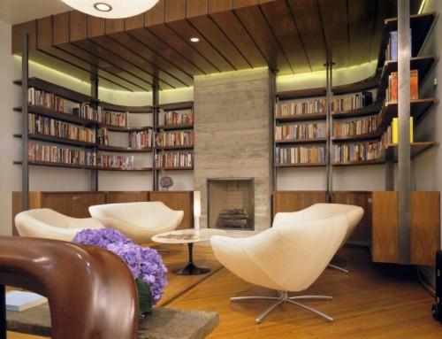 moderne haus bibliothek designs einbaukamin