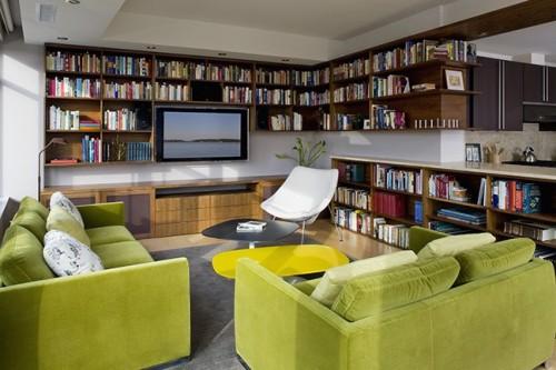 moderne haus bibliothek designs grün gepolstert sofa wandregale