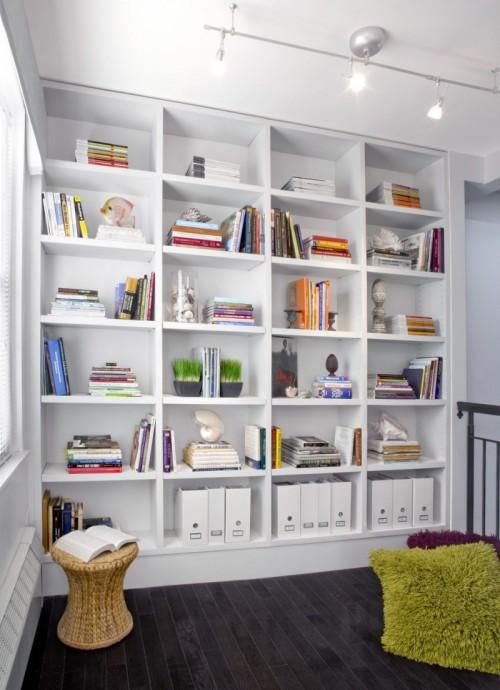 moderne haus bibliothek designs rattan hocker wandregale weiß farbe