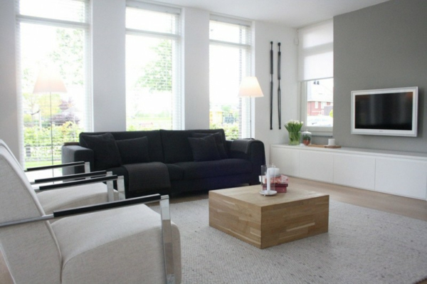 modernes herrliches haus design wohnzimmer weiß schwarz sofa