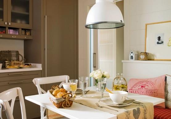 modernes küchendesign beige rot küche essbereich