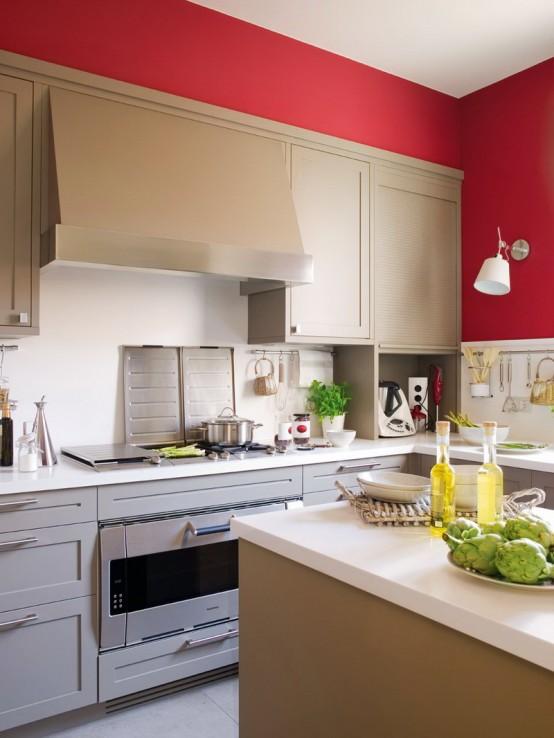 modernes küchendesign beige rot küche wände arbeitsplatte