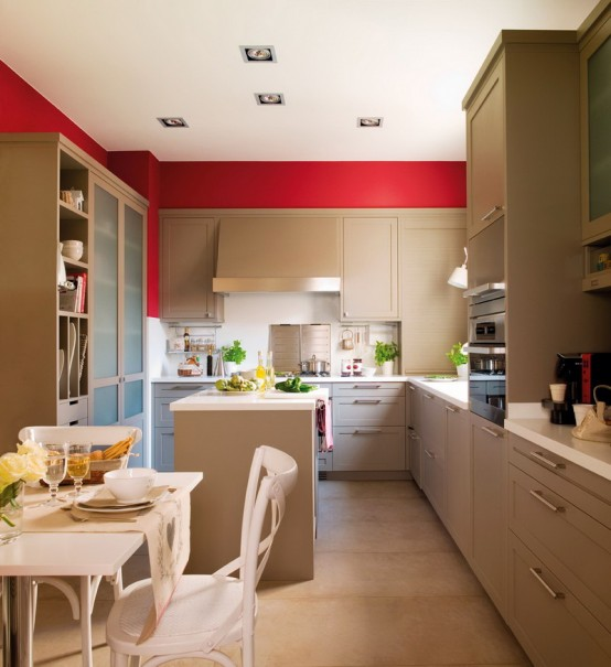 wohnzimmergestaltung 3d:Kitchen Wall Color with Red Accents