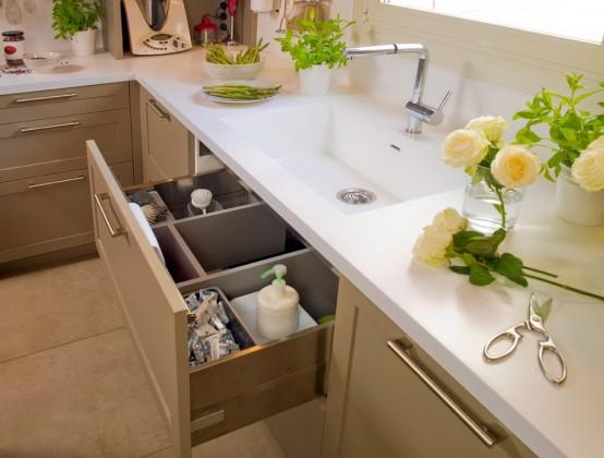 modernes küchendesign beige rot küche waschbecken schubladen