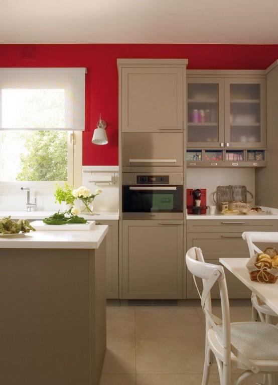 modernes küchendesign beige rot kücheninsel essbereich