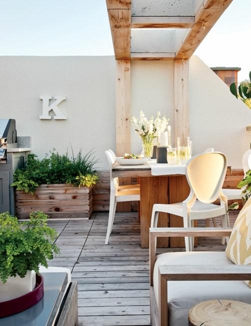 modernes, rustikales Hinterhof Design esszimmer holz möblierung