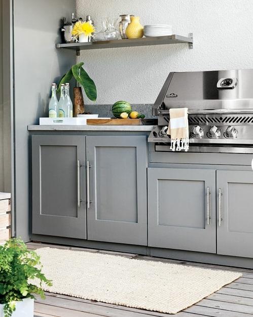 modernes, rustikales Hinterhof Design metall grillbereich