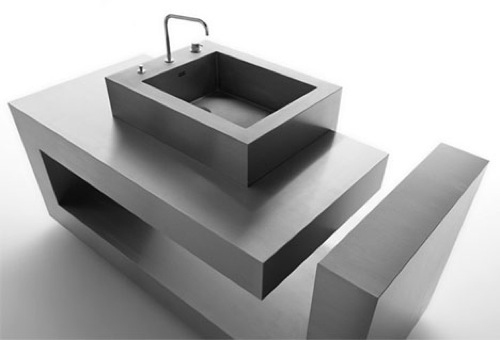 modernes waschbecken im bad schwarz geometrisch quadratisch
