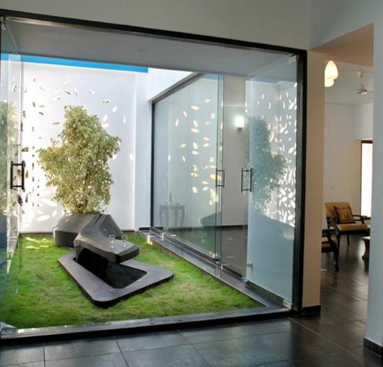 moderne coole Garten Gestaltung glas wände originell