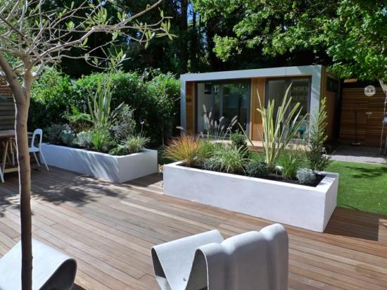 modernne coole garten gestaltung hintergarten weiß