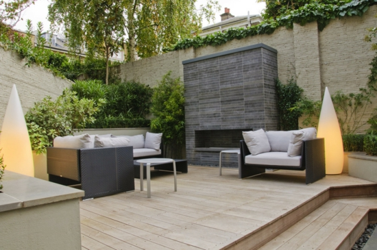 moderne coole Garten Gestaltung möbel graue auflagen