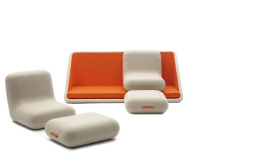 orange designer sofa weich demontierbar sitzkissen lehnsessel