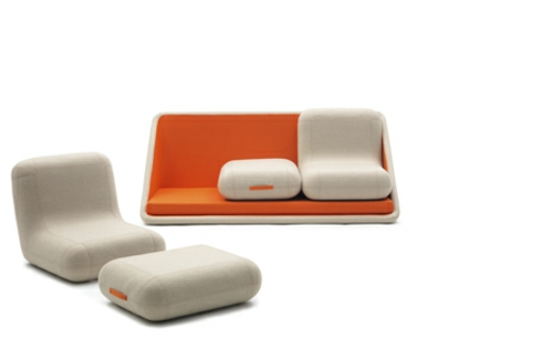 orange designer sofa weich komfortable beige farbe kombination