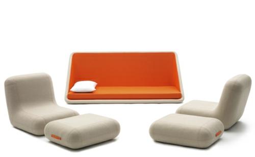 orange designer sofa weich komfortable beige farbe polsterung