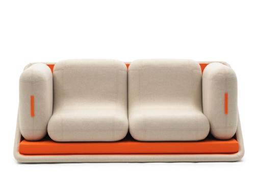 orange designer sofa weich komfortable struktur