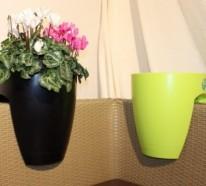 Praktische und originelle Gestaltungsidee – Greenbo-Blumentopf auf dem Balkon