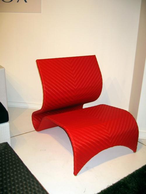 relax stuhl im garten rot synthetisch minimalistisch design