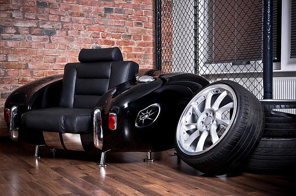 retro auto möbel designs sofa leder lackiert autoteile