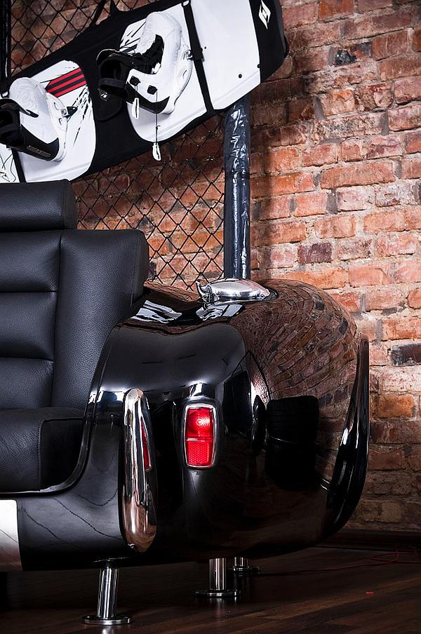 retro auto möbel designs sofa leder lackiert lichter