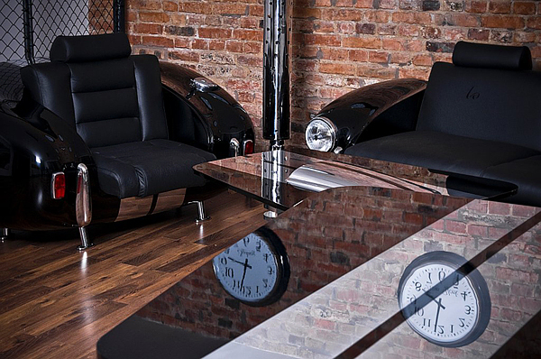 retro auto möbel designs sofa leder lackiert stilvoll innendesign