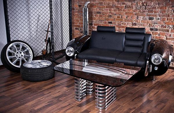 klassische auto möbel designs sofa leder lackiert tisch