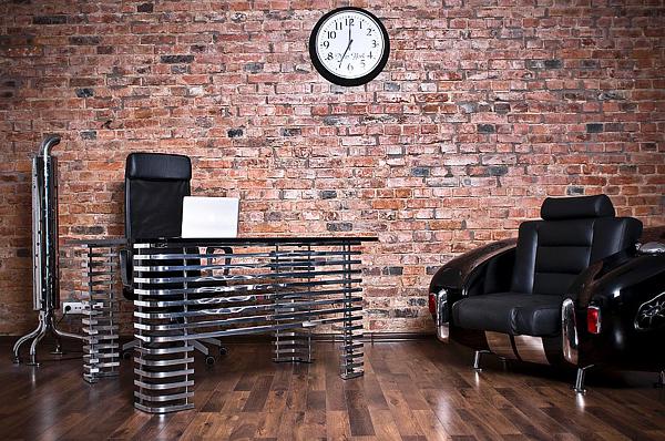 retro auto möbel designs sofa  leder lackiert ziegelwand
