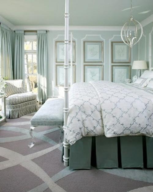 Romantische Schlafzimmer Designs Pastellfarben Blassgrün