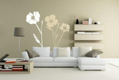 schöne frische blumen muster interior weiß wohnzimmer