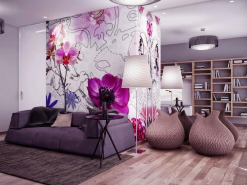 schöne frische blumen muster tapeten lila interior