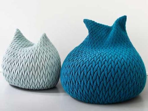 schöne Puff Designs gestrickt blau hell dunkel idee
