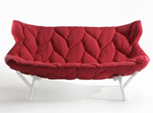 Rotes gepolstertes Sofa designer lösung bequem auflage foliage laub