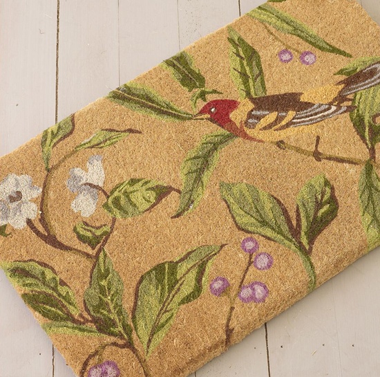 sommer garten deko ideen floral naturhaft kokonussschalen fußmatte