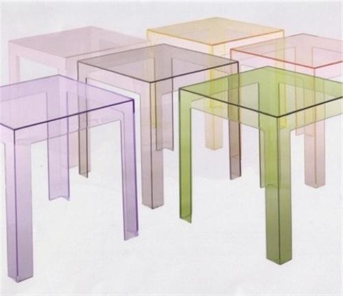 transparente designer möbel aus glas bunt beistelltische klein