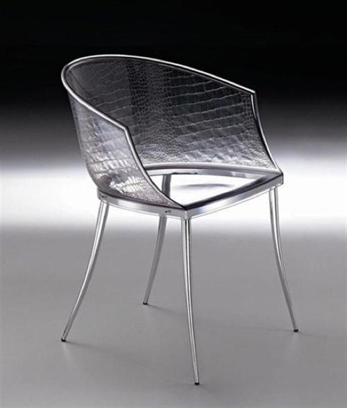 transparente designer möbel aus glas krokodil muster stuhl