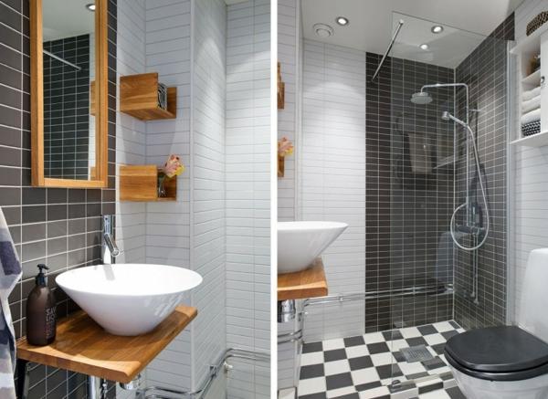 trendy apartment badezimmer holz untertisch waschbecken weiß
