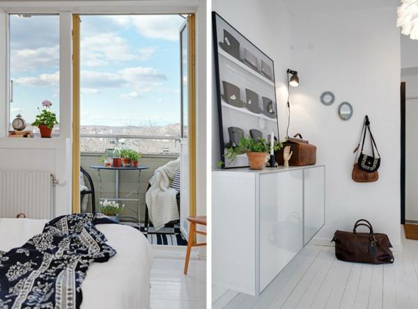 cooles apartment design balkon schlafzimmer flur kommode