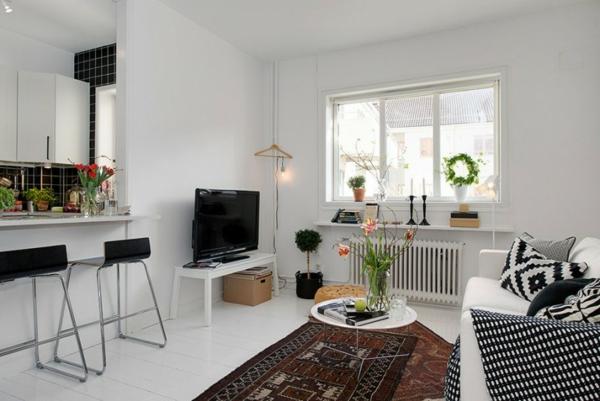 trendy apartment weiß einrichtung sitzecke bequem