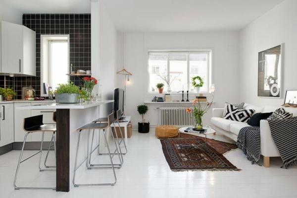 Cooles Apartment Design Wei Einrichtung Wohn Ess Kchen Bereich With Weie  Einrichtung