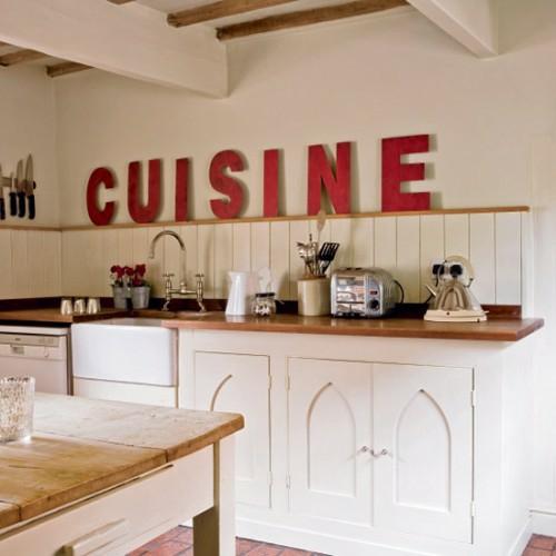 vintage zeichen im interior verwenden küchen arbeitsplatte