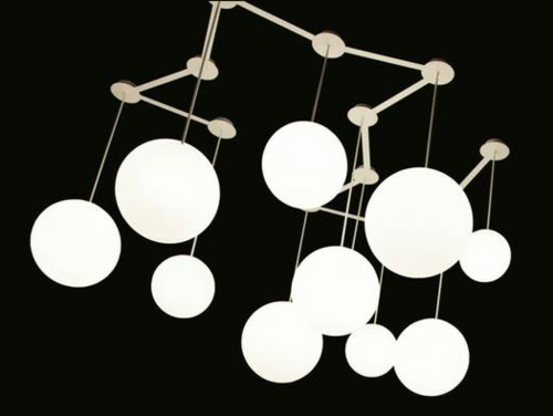 wei e kugel lampen in unterschiedlicher h he von roberto paoli. Black Bedroom Furniture Sets. Home Design Ideas