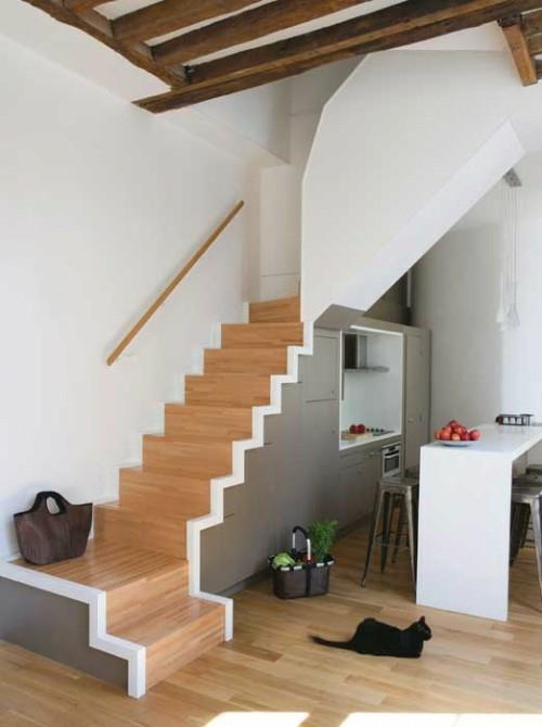Coole platzsparende Lagerraum Ideen im Treppenhaus küche