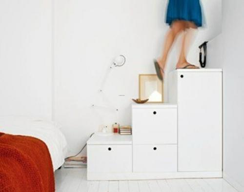 treppe platzsparend ideen weiß schubladen schlafzimmer