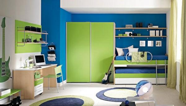 Wandfarben Farbpalette Kinderzimmer : Das Kinderzimmer Interior mit leuchtenden Farben erfrischen blau